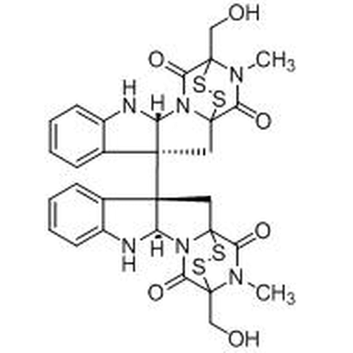 <p>Chemical structure of Chaetocin (SIH-351), a Lys methyltransferase inhibitor. CAS #: 28097-03-2    . Molecular Formula: C30H28N6O6S4. Molecular Weight: 696.9 g/mol.</p>
