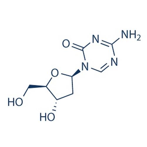 <p>Chemical structure of Decitabine (SIH-352), a DNA hypomethylation agent. CAS #: 2353-33-5. Molecular Formula: C8H12N4O4. Molecular Weight: 228.2 g/mol.</p>