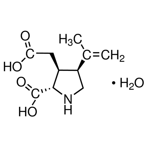 <p>Chemical structure of Kainic acid (SIH-364), a Neuro-excitant/ Kainate agonist. CAS #: 58002-62-3. Molecular Formula: C10H15NO4 (*H2O). Molecular Weight: 213.2 g/mol.</p>